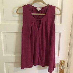 Lucky Brand L dark pink/mauve pleated knit tank